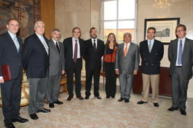Representatives of the four operators of the Operational Programme Fight Against Discrimination with the then- Spanish Minister of Labour, Valeriano Gómez