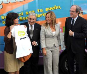 Former Ministers Ángel Gabilondo, Trinidad Jiménez and Carmen Calvo together with the President of the FSG, Pedro Puente, during the institutional presentation of the campaign