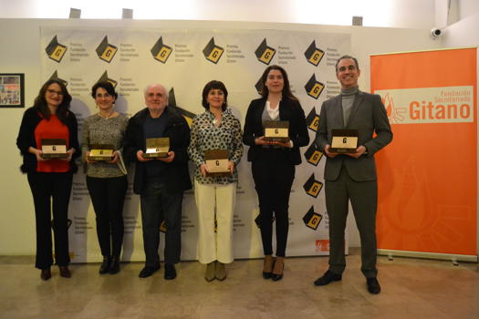 The Vice President of the Regional Government of Valencia, the Fuerte El Rompido Hotel in Huelva, the activist Manuel Vila, the 16kms de La Cañada Festival, the journalist Minerva Oso from Spanish National Radio (RNE) and Tío Valentín Suárez, Fundación Secretariado Gitano Awards 2019
